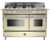 "HER486GGASCR01 Bertazzoni Heritage 48"" Range with 6 Brass Burners + Griddle and Gas Oven - Cream"