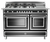 "HER486GGASNE01 Bertazzoni Heritage 48"" Range with 6 Brass Burners + Griddle and Gas Oven - Black"