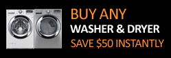 Save $50 instantly when you buy a washer and dryer