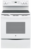 "JB655DKWW GE 30"" Freestanding Electric Range with Convection & Fifth Element - White"