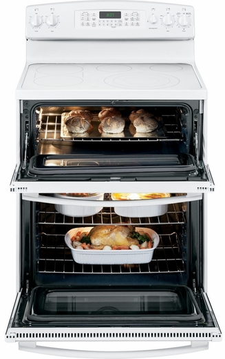"JB870TFWW GE 30"" Free-Standing Electric Double Oven Range with Convection - White"