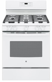 "JGB660DEJWW GE 30"" Free-Standing Gas Range with Edge-to-edge Cooktop - White"