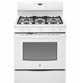 "JGB690DEFWW GE 30"" Free-Standing Gas Convection Range with 5 Sealed Burners - White"