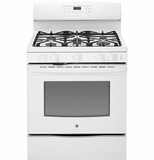 "JGB697DEHWW GE 30"" Free-Standing Gas Convection Range with 17,000 BTU Power Boil Burner - White"