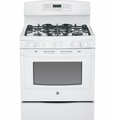 "JGB750DEFWW GE 30"" Free-Standing 5.6 Cu. Ft. Gas Convection Range with Power Boil Burner - White"