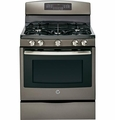 "JGB750EEFES GE 30"" Free-Standing 5.6 Cu. Ft. Gas Convection Range with Power Boil Burner - Slate"
