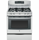 "JGB770SEFSS GE 30"" Free-Standing Gas Convection 5.6 Cu. Ft. Range with 17,000 BTU Power Boil Burner - Stainless Steel"