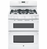 "JGB850DEFWW GE 30"" Free-Standing Gas 6.8 Cu. Ft. Double Oven Range with 17,000 BTU Power Boil Burner - White"
