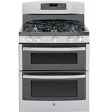 "JGB850SEFSS GE 30"" Free-Standing Gas 6.8 Cu. Ft. Double Oven Range with 17,000 BTU Power Boil Burner - Stainless Steel"