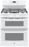 "JGB860DEJWW GE 30"" Free-Standing Gas Double Oven Convection Range with Edge-to-edge Cooktop - White"