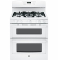 "JGB870DEFWW GE 30"" Free-Standing Gas Double Oven Range with Convection - White"