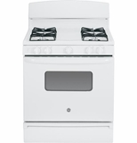 "JGBS10DEFWW GE� 30"" Free-Standing 4.8 Cu. Ft. Gas Range with Porcelain Upswept Cooktop - White"