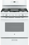 "JGBS66DEKWW GE 30"" Free-Standing Gas Range with Edge to Edge Cooktop - White"