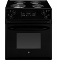 "JM250DFBB GE 27"" Drop In Electric Range with Chrome Drip Bowls - Black"