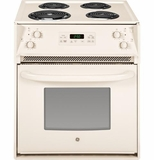 "JM250DFCC GE 27"" Drop In Electric Range with Chrome Drip Bowls - Bisque"