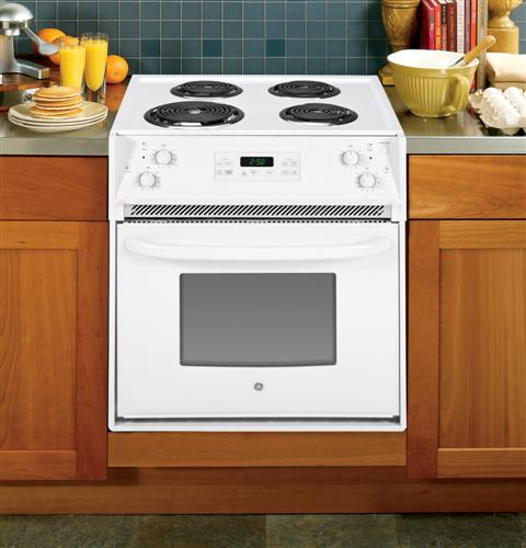 jm250dfww ge 27 quot drop in electric range with chrome drip bowls white