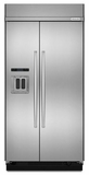 "KBSD608ESS KitchenAid 29.5 Cu. Ft 48"" Width Built-In Side by Side Refrigerator - Stainless Steel"