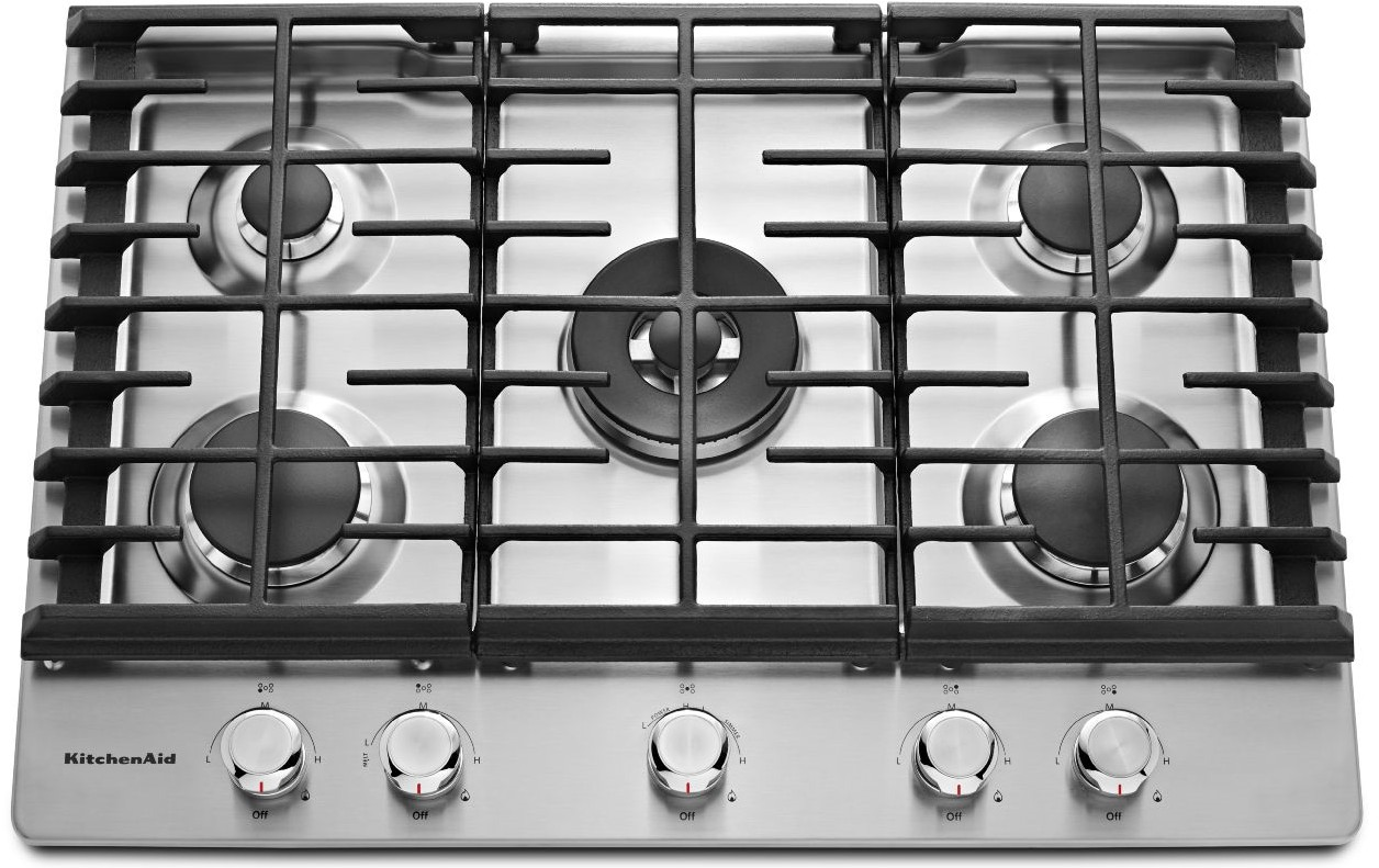 KCGS550ESS KitchenAid 30u0027u0027 5 Burner Gas Cooktop With Even Heat Simmer  Burner