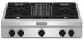 """KGCU462VSS KitchenAid 36"""" Commercial Gas Cooktop with Grill - Stainless Steel"""
