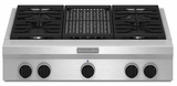 "KGCU462VSS KitchenAid 36"" Commercial Gas Cooktop with Grill - Stainless Steel"
