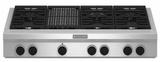 "KGCU482VSS KitchenAid  48"" Commercial Gas Cooktop with Grill - Stainless Steel"