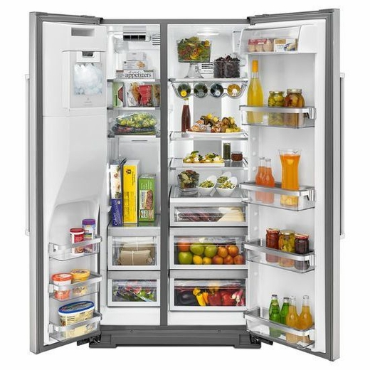 Shop Kitchenaid 24 8 Cu Ft Side By Side Refrigerator With: KRSF505ESS KitchenAid 24.8 Cu. Ft. Standard Depth Side-by