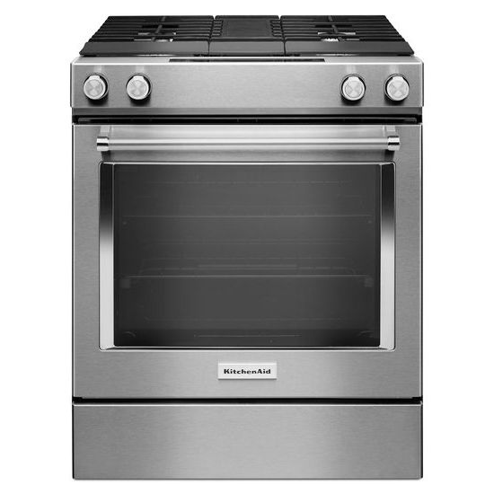 Merveilleux KSDG950ESS KitchenAid 30 Inch 4 Burner Dual Fuel Downdraft Slide In Range