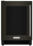 "KURL304EBS KitchenAid 24"" 5.1 Cu. Ft. capacity Undercounter Refrigerator with Touch Controls and UV-Protected Thermal Glass Door - Left Hinged - Black"