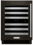 "KUWL304EBS KitchenAid 24"" Dual Zone Wine Cellar with 46 Wine Bottle Capacity and SatinGlide Metal-Front Racks - Left Hinged - Black"