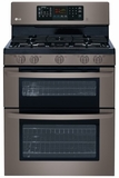 "LDG3036BD LG Black Stainless Steel Series 30"" 6.1 Cu. Ft. Gas Double Oven Range with EasyClean - Black Stainless Steel"