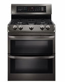 """LDG4313BD LG 30"""" 6.9 Cu. Ft. Freestanding Gas Double Oven Range with Probake Convection - Black Stainless Steel"""