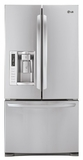 LFXS24623S LG 24.2 cu. ft. Ultra Capacity 3-Door French Door Refrigerator - Stainless Steel