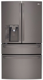 "LMXC23746D LG Diamond Collection 36"" 23 Cu. Ft. Counter Depth 4 Door French Door Refrigerator with CusotmChill Drawer - Black Stainless Steel"