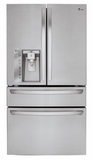 LMXC23746S LG 23 cu.ft. Large Capacity Counter Depth 4-Door French Door Refrigerator with CustomChill Drawer - Stainless Steel