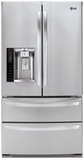"LMXS27626S LG 36"" Wide Ultra-Capacity 4 Door French Door Refrigerator with 27 Cu. Ft. - Stainless Steel"