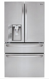 LMXS30756S LG 30 Cu. Ft. Super Capacity 4-Door French Door Refrigerator with CustomChill Drawer and Kimchi Bins - Stainless Steel