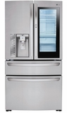 """LMXS30796S LG 36"""" InstaView French Door-In-Door 29.7 cu. ft. Refrigerator with CustomChill Drawer and EasyReach Bins - Stainless Steel"""