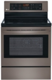 LRE3083BD LG Black Stainless Steel Series 6.3 Cu. Ft. Capacity Electric Single Oven Range with True Convection and EasyClean - Black Stainless Steel