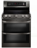 "LRE4415BD LG 30"" Electric Double Oven Range with ProBake Convection and 7.3 cu. ft. Capacity - Black Stainless Steel"
