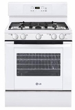 LRG3091SW LG 5.4 Cu. Ft. Gas Single Oven Range with 5 Sealed Burners - White