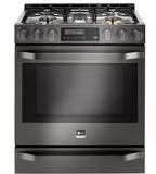 "LSSG3019BD LG 30"" 6.3 cu. ft Gas Slide-in Range with ProBake Convection - Black Stainless Steel"