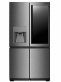 "LUPXS3186N 36"" LG Signature Series 30.8 cu. ft. Capacity 4 Door French Door Refrigerator with LUMIShelf Lighting and Instaview Window - Textured Steel"
