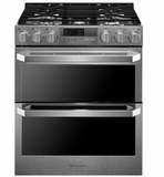 "LUTD4919SN 30"" LG Signature Series 7.3 cu. ft. Slide in Dual Fuel Range with Dual Ovens and Speed Roast -  Textured Steel"