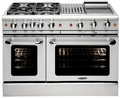 "MCOR484BGL Capital 48"" Culinarian Series Liquid Propane Gas Manual Clean Range with 4 Open Burners with 12"" Broil Burner & 12"" Thermo Griddle - Stainless Steel"