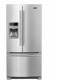 """MFI2269FRZ 33"""" Maytag 22 cu. ft. French Door  Refrigerator with 3 Adjustable Glass Shelves and External Water-Ice Dispenser - Stainless Steel"""