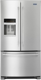 """MFI2570FEZ Maytag 36"""" French Door Refrigerator with BrightSeries LED Lighting and PowerCold Feature - Stainless Steel"""
