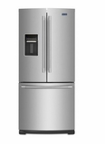 """MFW2055FRZ 30"""" Maytag 20 cu. ft. French Door Refrigerator with Exterior Water Dispenser and Bright Series LED Lighting - Stainless Steel"""