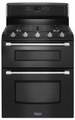 MGT8720DE Maytag Gemini 6.0 total cu. ft. Double Oven Gas Stove with EvenAir Convection - Black with Silver Handles