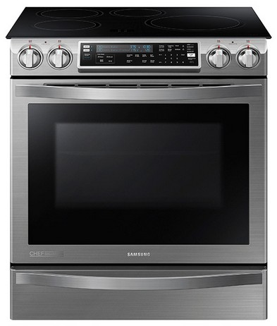 NE58H9970WS Samsung Slide-In Induction Chef Collection Range with Flex Duo�?� Oven - Stainless Steel