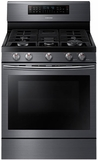"""NX58J7750SG Samsung 30"""" Gas Flex Duo Range with Griddle and Wok Grate - Black Stainless Steel"""